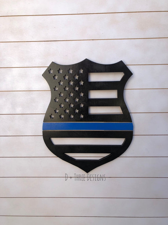 Police Officer Wooden Badge Thin Blue Line Wooden Decor