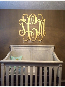 36 Inch Wooden Monogram Painted Gold, Wooden Letters, Monogram, Home Decor, Nursery Letters, & More