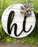 Shiplap Wooden Hi Door Hanger Sign