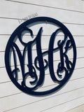 24 Inch Wooden Monogram with Circle Border, Wooden Letters, Wooden Monogram Home Decor,