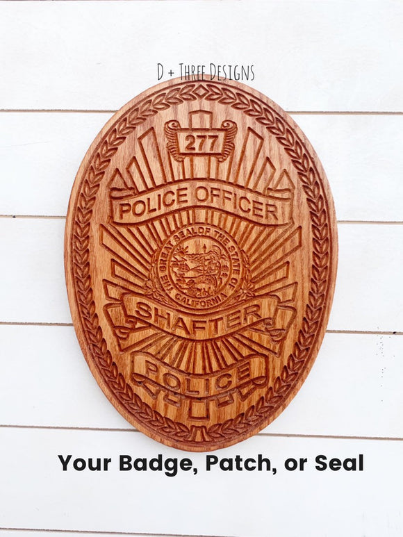 Personalized Police Badge or Patch // Police Retirement // Police Gift //Shafter Police Department
