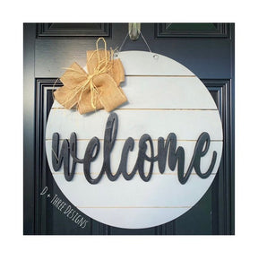 Welcome Farmhouse Shiplap Wooden Door Hanger Sign (You Pick Colors)