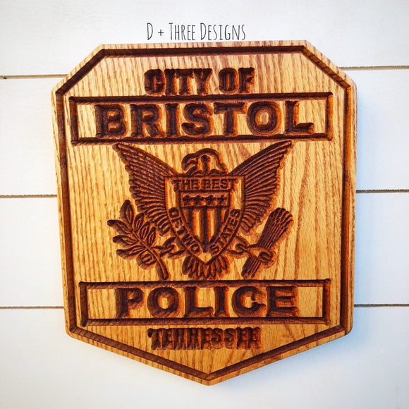 Personalized Police Badge or Patch // Police Retirement // Police Gift // Bristol TN Patch