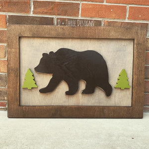 Woodland Decor // Bear Decor // Cabin Decor // Rustic Wall Sign