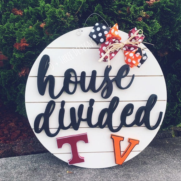 House Divided Sports Team Wooden Door Hanger (You Pick The Teams, Font, and Colors)