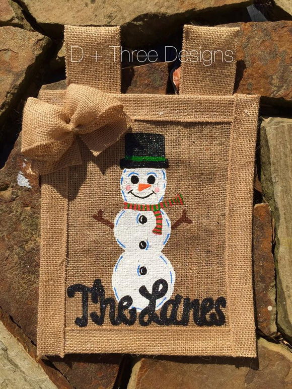 Personalized Winter Snowman Burlap Yard Garden Flag