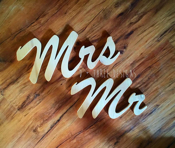 8 Inch Mr and Mrs Wedding Decor, Chair Sign, Wooden Letters