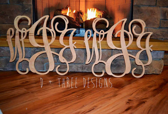 2 Pack 18 Inch Vine Wooden Monogram, Wood Letters, Nursery Letters, Home Decor