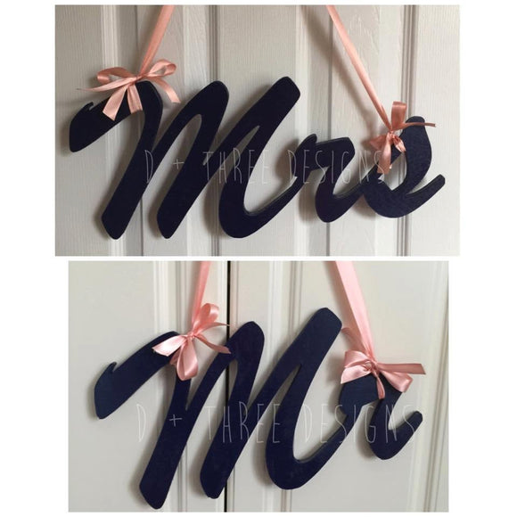 8 Inch Mr and Mrs Painted Wedding Decor, You Pick The Paint & Ribbon, Chair Sign, Wedding Reception, Wooden Letters, Just Married Decor