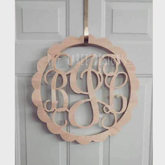 22 Inch Scallop Circle Wooden Monogram, Letters, Home Decor, Weddings, Nursery Letters, Ready to be painted!