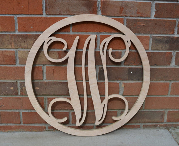 24 Inch Wooden Circle Monogram Letter, Wooden Monogram, Letters, Home Decor, Weddings, Nursery Letters, Ready to be painted!