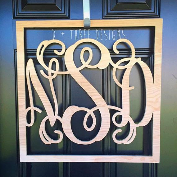 22 Inch Square Wooden Monogram, Letters, Home Decor, Weddings, Nursery Letters, Ready to be painted!