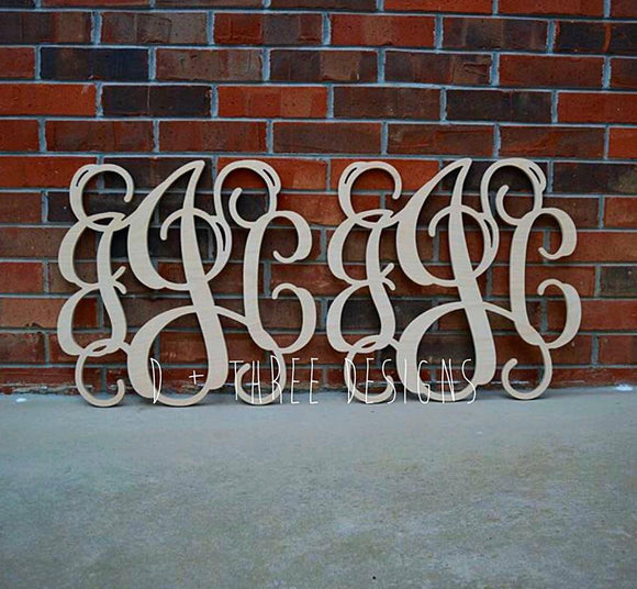 2 Pack 22 Inch Wooden Monogram, Letters, Home Decor, Weddings, Nursery Letters, Ready to be painted!
