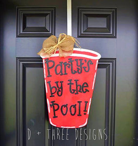 Red Solo Cup Wooden Door Hanger, Summer Door Hanger, Wooden Door Hanger