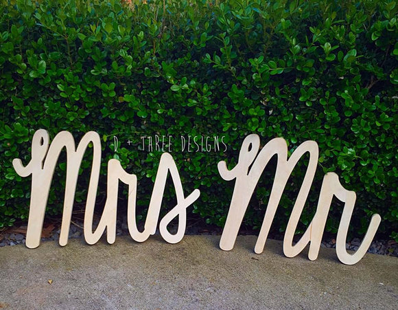 12 Inch Mr and Mrs Wedding Decor, Wedding Sign, Wedding Reception, Chair Sign, Wooden Letters