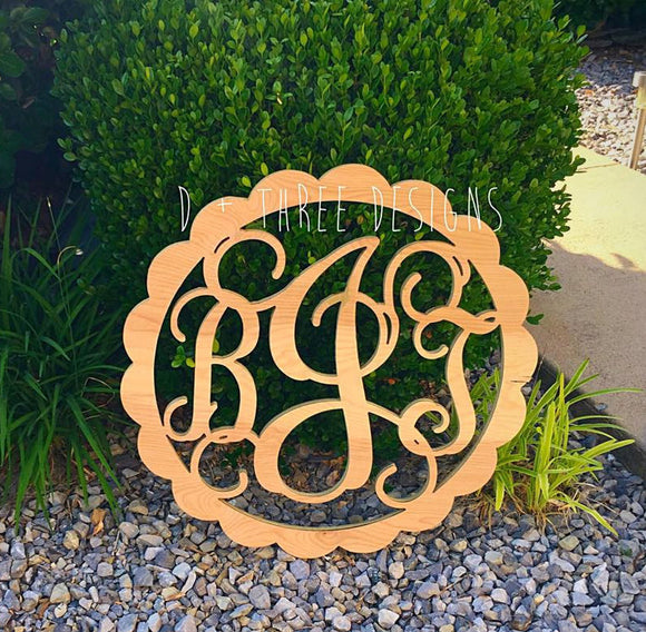 20 Inch Scallop Circle Wooden Monogram, Letters, Home Decor, Weddings, Nursery Letters, Ready to be painted!