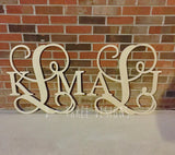 2 Pack 24 Inch Wooden Monogram, Letters, Home Decor, Weddings, Nursery Letters, Ready to be painted!