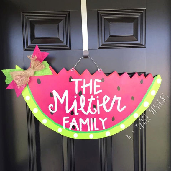 Summer Watermelon Wooden Door Hanger Personalized & Bright // Summer Wreath // Slice of Summer