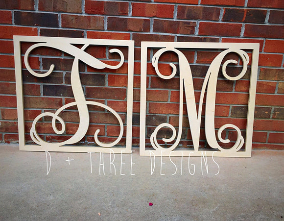 2 Pack 24 Inch Wooden Monogram Square Border, Letters, Home Decor, Weddings, Nursery Letters, Ready to be painted!