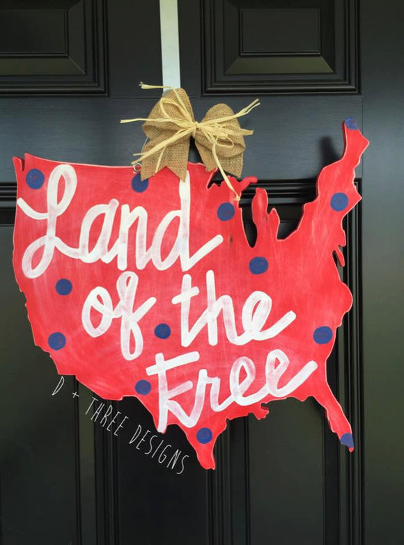 Rustic Patriotic USA Wooden Door Hanger, Summer Wreath, Fourth of July Decor, Red White and Blue Primitive Door Hanger, Land of the Free