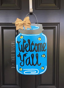 Welcome Yall Southern Country Mason Jar Wooden Door Hanger, Country Decor, Country Wreath, Country Door Hanger, Summer Wreath, Wooden Hanger
