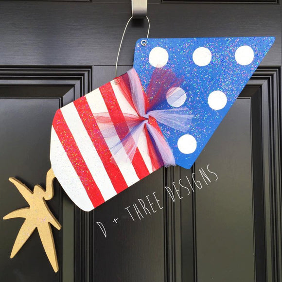 Sparkling Firecracker Patriotic USA Door Hanger, Summer Wreath, Fourth of July Decor, Red White and Blue Wooden Door Hanger,