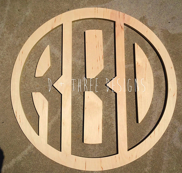 24 Inch Wooden Circle Monogram Reverse Cut Out , Wooden Letters, Monogram, Home Decor, Nursery Letters, & More