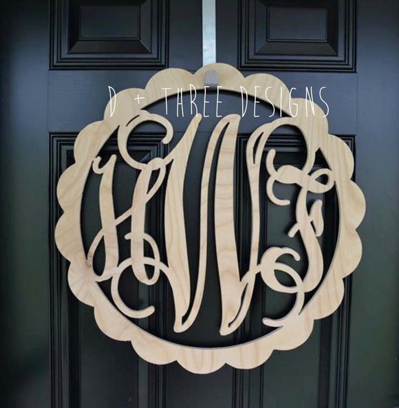 24 Inch Scallop Circle Wooden Monogram, Letters, Home Decor, Weddings, Nursery Letters, Ready to be painted!