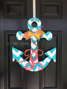 20 Inch Chevron Painted Wooden Anchor + Personalized Monogram // Anchor Decor // Nautical Decor // Anchors Away // Wooden Door Hanger