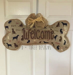 Dog Bone Welcome Burlap Door Hanger, Dog Lover Wreath, Wall Hanging, You Pick Your Colors