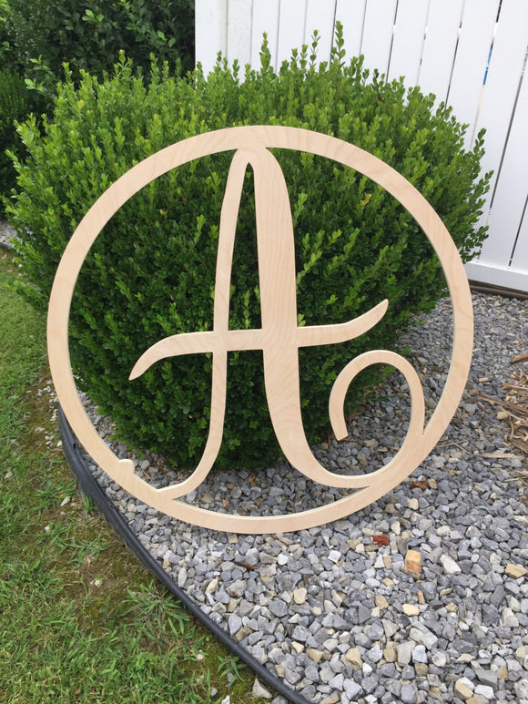 36 Inch Wooden Circle Single Monogram Letter, Wooden Monogram, Letters, Home Decor, Weddings, Nursery Letters, Ready to be painted!