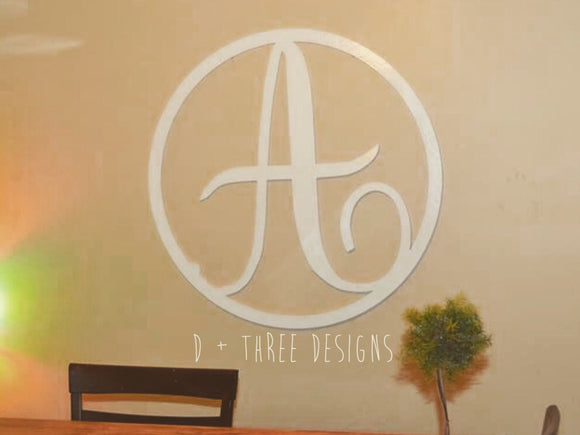 36 Inch Wooden Single Letter with Circle Border, Wooden Letters, Wooden Monogram, Home Decor,