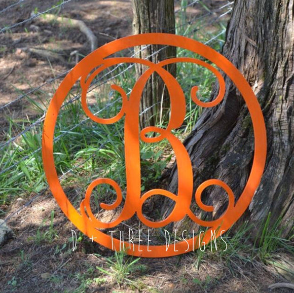18 Inch Painted Wooden Circle Monogram Letter, Wooden Monogram, Letters, Home Decor, Weddings, Nursery Letters, Door Hanger, Wreath