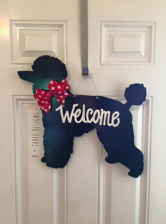 Dog Poodle Wooden Decor // Door Hanger // Dog Wreath // Dog Lover // Poodle Lover // Dog Decor // Wooden Door Hanger