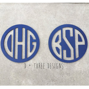 2 PACK: 24 Inch Wooden Circle Monograms Reverse Cut Out Painted, Wooden Letters, Monogram, Home Decor, Nursery Letters, & More