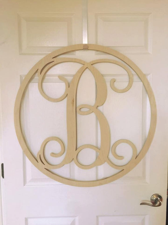32 Inch Wooden Circle Single Monogram Letter, Wooden Letters, Monogram, Home Decor, Nursery Letters, & More