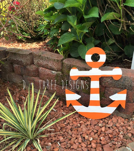 20 Inch Painted Wooden Anchor + Personalized Monogram // Anchor Decor // Nautical Decor // Anchors Away // Wooden Door Hanger