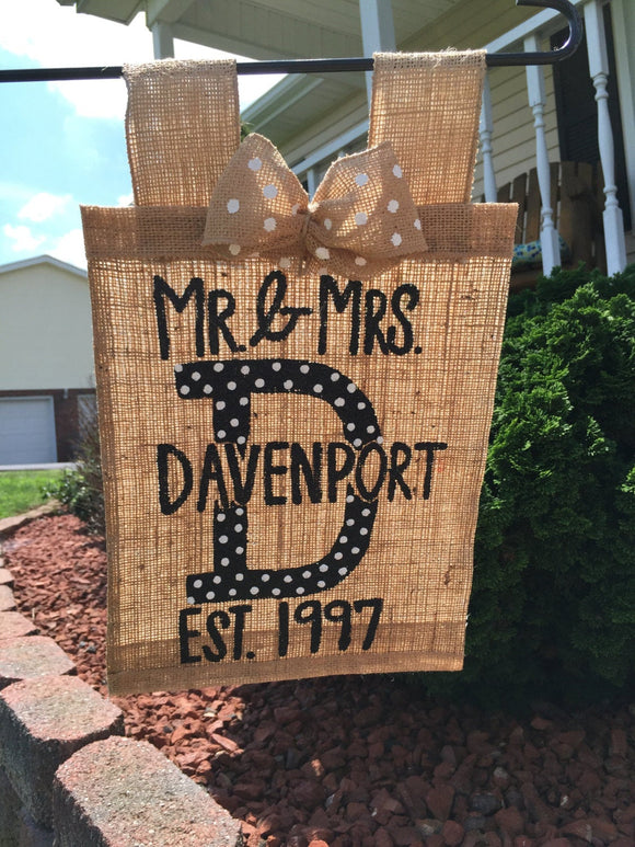 Polkadot Monogram Personalized Yard Flag // Welcome Decor // Garden Flag // Burlap Flag // Burlap Sign// You Pick The Colors