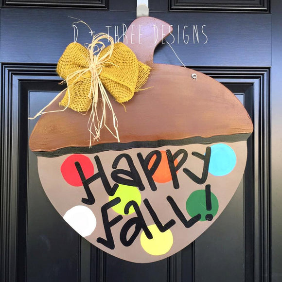 Colorful Acorn Door Hanger // Fall Wreath // Autumn Decor// Painted Acorn Fall Wreath // Wooden Door Hanger // Acorn Wreath