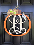 Monogram Pumpkin Door Hanger // Fall Wreath // Autumn Monogram // Painted Monogram Fall Wreath // Wooden Door Hanger // Pumpkin Wreath