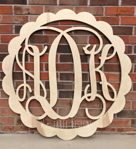 36 Inch Scalloped Wooden Monogram, Wooden Letters, Monogram, Home Decor, Nursery Letters, & More