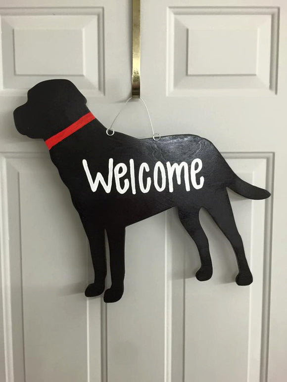 Dog Lab Wooden Decor // Door Hanger // Dog Wreath // Dog Lover // Labrador Lover // Dog Decor // Wooden Door Hanger