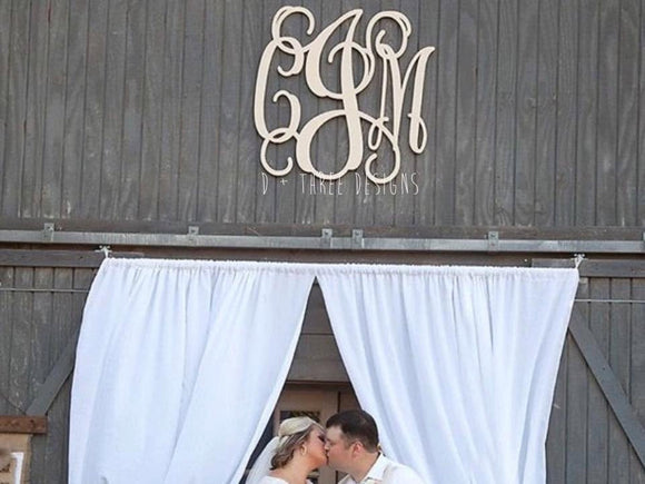 36 Inch Ivory/Cream Wooden Monogram Painted, Rustic Decor, Wedding Guestbook,  Wooden Letters, Monogram, Home Decor, Nursery Letters, & More