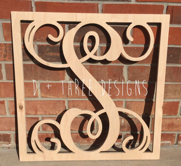 24 Inch Wooden Square Monogram Letter, Wooden Monogram, Letters, Home Decor, Weddings, Nursery Letters, Ready to be painted!