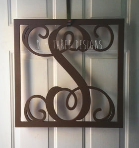 "26"" Inch Painted (You Pick The Color) Wooden Single Letter with Square Border, Wooden Letters, Wooden Monogram Home Decor,"