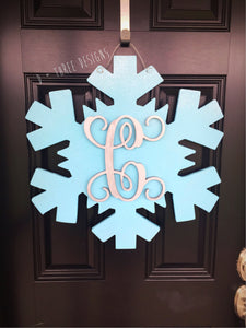 Sparkling Monogram Snowflake Door Hanger/Winter Wreath/Painted Wooden Snowflake Decor/Wooden Door Hanger /You Pick The Letter & Colors