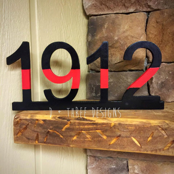 Firefighter Thin Red Line Wooden Badge Number Decor (You Pick The Numbers) Firefighter Gift