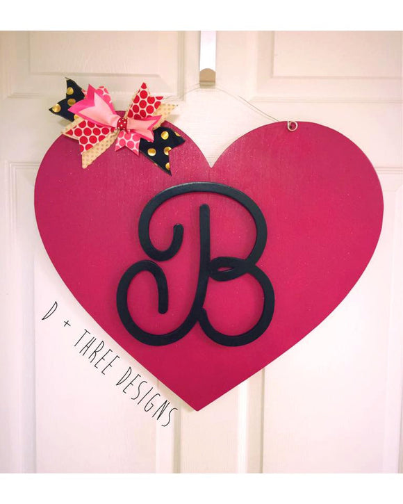 Sparkling Monogram Valentine Heart Door Hanger/Valentine's Day Decor/Wooden Heart/Wooden Door Hanger /You Pick The Letter & Colors