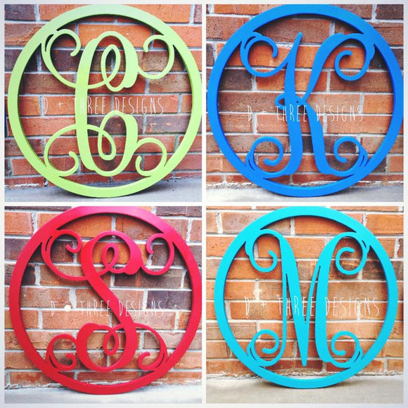20 Inch Painted Wooden Single Letter with Circle Border, Wooden Letters, Wooden Monogram Home Decor,