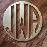 22 Inch Wooden Circle Monogram Reverse Cut Out Painted, Wooden Letters, Monogram, Home Decor, Nursery Letters, & More